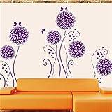 Amaonm Purple Hydrangea Shape Dandelions Nursery Flowers Wall Decals Removable Butterfly Home Art Decor Decal...