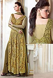 Pretty Pale Yellow and Mehendi Green Palazzo Suit