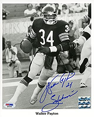 "Walter Payton Chicago Bears Autographed 8"" x 10"" Action Photograph with ""Sweetness"" Inscription () - PSA/DNA Certified"