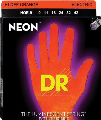 Dr Strings Noe-9 Coated Nickel Hi-Def Orange Electric Guitar Strings, Light