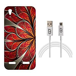 Designer Hard Back Case for Lenovo A6000 Plus with 1.5m Micro USB Cable
