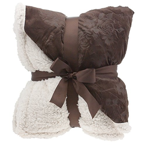 "Sale!! Floral Embossed Sherpa Throw Blanket 50"" x 60"" Reversible Textured Fuzzy Soft Choco..."