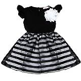 Winer かわいい子供服 赤ちゃん女の子 ストライプ プリンセス ドレス (130, ブラック) ランキングお取り寄せ
