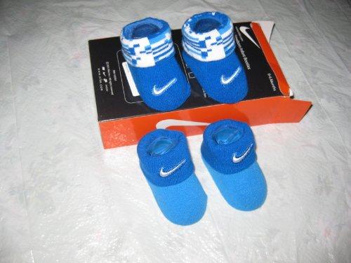 Nike Air Jordan Newborn Infant Baby Booties Socks Blue White Embroidered Nike Swoosh Logo Size 0-6 Months Baby Gift Set