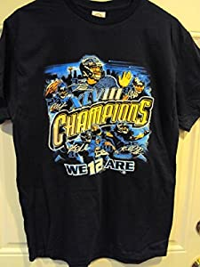 Buy Seattle Seahawks Super Bowl XLVIII CHAMPIONS Navy Team Players T Shirt Size XL by VF