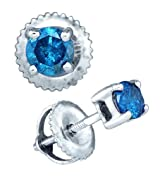 Blue Diamond Earrings Studs 10k Gold
