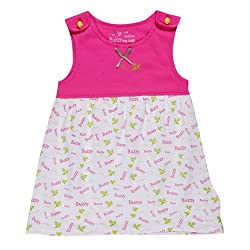Buzzy Baby Girls' Cotton Olive - Printed Dress (Olive_Pink_4-6M)