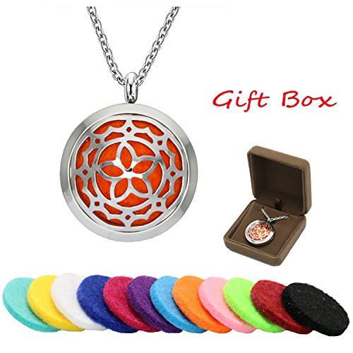 Stylish Diffuser Necklace for Women with Gift Box - Exqline Essential Oil Diffuser Necklace with Pendant Locket, 20 Inch Chain, BONUS 12 Colorful and Washable Refills, Convex Style