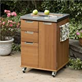 Home Styles 5700-95 Montego Bay Outdoor Patio Cart, Eucalyptus Finish