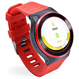 GearBest ZGPAX S99 Bluetooth 3G TPU Band Smartwatch with Pedometer Heart Rate for Android Support Sim-card (Red)