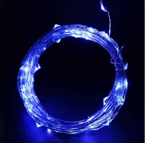 5V Dc Starry Copper Wire Led Lights(Silver Coating), 33Ft Led String Light With Power Adapter Supply, Including 100 Warm White Individual Leds