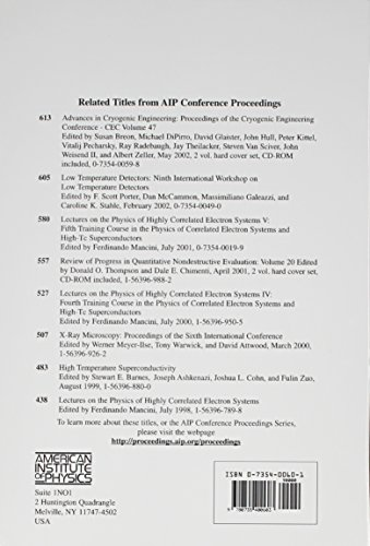 Advances in Cryogenic Engineering: Proceedings of the International Cryogenic Materials Conference - ICMC, Volume 48, Madison, Wisconsin, USA 16-20, July 2001: v. 48 (AIP Conference Proceedings)