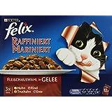 Felix Katzenfutter Raffiniert-Mariniert Fleisch Mix, 72 Beutel (72 x 100 g)