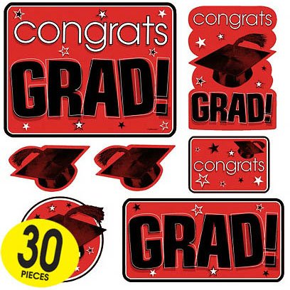 Red Graduation Cutouts Mega Value Pack