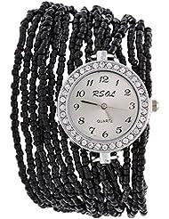 Swadesi Stuff Analog Black Dial Women's Wrist Watch - ROUND_MOTI_BLACK