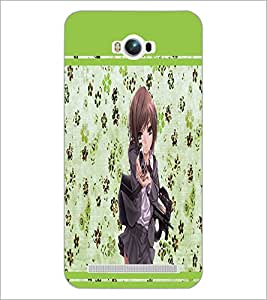 PrintDhaba Girl with Gun D-1343 Back Case Cover for ASUS ZENFONE MAX ZC550KL (Multi-Coloured)