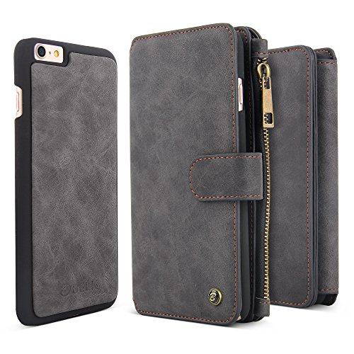 iPhone 7 Case, BELK Detachable 2 in 1 Magnetic Detachable Zip Wallet [Large Capacity] Flip Case with 14 Card Slots and Removable Slim PC Back Cover for Apple iPhone 7 - 4.7 inch, Black