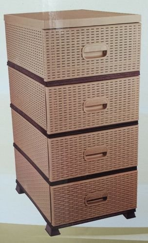 Chest of drawers rattan plastic storage tower organiser