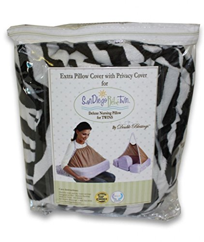 EXTRA COVER FOR San Diego Bebe TWIN Eco Nursing Pillow, Zebra - 1