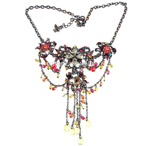 Victorian Necklace Chandelier Crystals Red