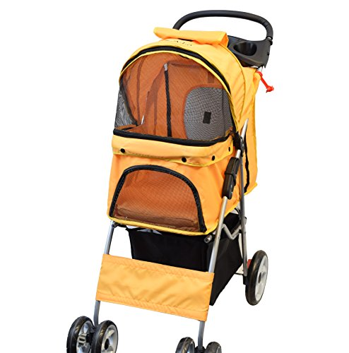VIVO Four Wheel Pet Stroller, for Cat, Dog and More, Foldable Carrier Strolling Cart, Multiple Colors (Orange)