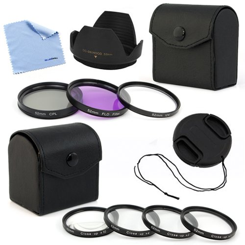 Birugear 52Mm Flower Hard Lens Hood With Lens Cap And Filter Accessory Kits + Cleaning Cloth For Nikon D800 D3200 D3100 D5100 D3000 D5000 Digital Slr Camera (Which Use 18-55Mm F/3.5-5.6G. 55-200Mm F/4-5.6G Lenses)