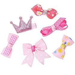 Phenovo 6pcs Mixed Ribbon Bow Hairpin Hair Clips for Girl Kids Hair Accessories Pink