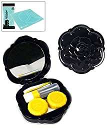 Rose Contact Lens Travel Kit (Black) Bonus Free Soft Microfiber Lens Cleaning Cloth