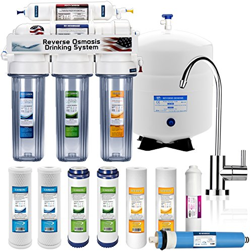 Express-Water-5-Stage-Home-Drinking-Reverse-Osmosis-System-50-GPD-Membrane-Modern-Chrome-Faucet-Extra-4-Filters-Clear-RO-Housing