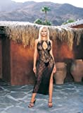 51xXv7poGpL. SL160  Swirl Lace Long Dress W/Lace Up Front W/G String O/S BLACK