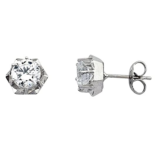 18k white gold earring cubic zirconia claw close pressure [5803]