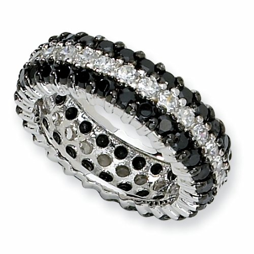 Sterling Silver Black/White Cubic Zirconia Eternity Ring (Size 8)