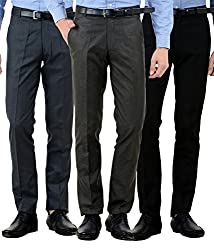 American-Elm Mens Cotton Formal Trousers- Pack of 3 (30)