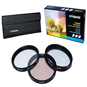 Polaroid Optics 52mm 3 Piece Special Effect Camera/Camcorder Lens Filter Kit (Soft Focus, Revolving 4 Point Star, Warming)