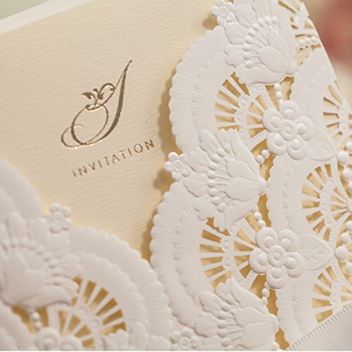 Wishmade 50x Elegant White Laser Cut Wedding Invitations Cards Kits with Lace and Hollow Flowers Card Stock Paper for Birthday Anniversary Baby Shower Graduation Quinceanera(set of 50pcs) CW5111 5