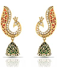 Traditional Ethnic Red Green Peacock Gold Plated Jhumki Dangler Earrings With Crystals For Women By Donna ER30102G