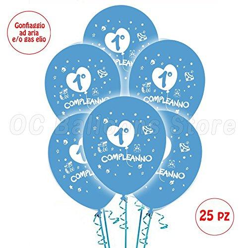 Palloncini 1° Compleanno Azzurrro addobbi e decorazioni per feste party confezione 25pz