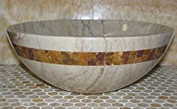 Sahara Beige Marble Bathroom Sink with Multi Red Onyx Mosaic Inlay. Beautiful Product Every Low Prices