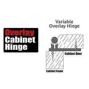 JQK 1/2 Inch Overlay Cabinet Door Hinges, Flush Cabinet Hinges, 20 Pack Matte Black, CH200-BK-P20 (Color: B-Overlay flush black(20 pack), Tamaño: B-Overlay flush black(20 pack))