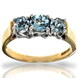10k Two-Tone White and Yellow Gold Aquamarine Round Gemstone Ring, Birthstone for March
