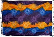 Plus Size Tie Dye Sarong (Purple, Blue & Yellow)