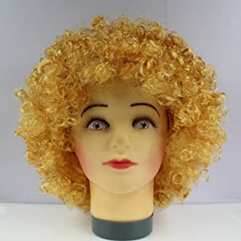 Afro Wig Curly Clown Wig Party Disco Wigs Fan Hairpiece (Gold)