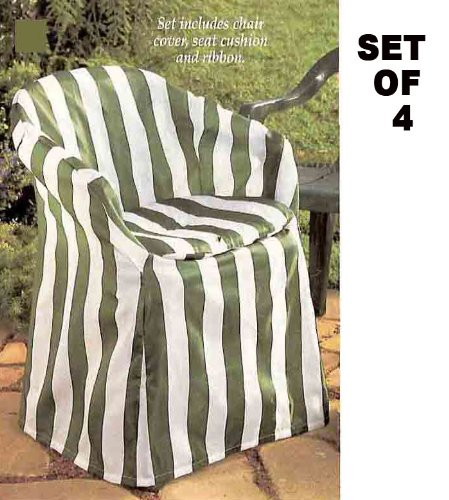 Buy Best Outdoor Chair Covers With Pads Green Stripe Decorative Set Of 4 Swivel Chair