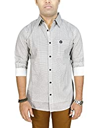 AA' Southbay Men's White 100% Cotton Printed Long Sleeve Casual Shirt