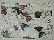 100% Cashmere Scarf- Ivory with Ornate Butterfly and Floral Mosaic Pattern