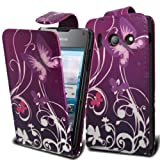 Accessory Master Leather Case for Huawei Ascend Y300 T8833 Flower Design Purple