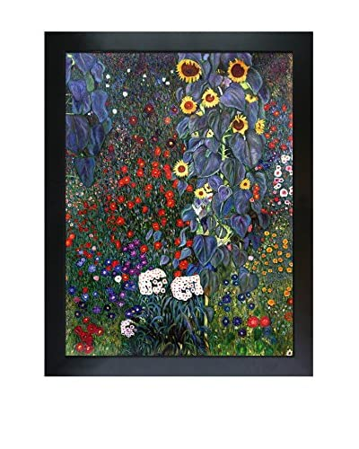 "Gustav Klimt ""Farm Garden With Sunflowers"" Framed Hand-Painted Reproduction"