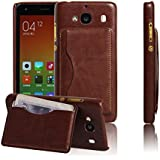 Case for Nokia Lumia 640 XL, Moonmini® Hard PC Snap-On Back Case Cover with Card Holders and Stand Function for Nokia Lumia 640 XL - Brown