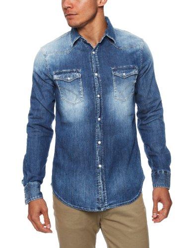GAS KANT W139 Camicia uomo in jeans denim leggero maniche lunghe slim fit