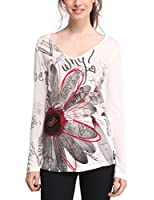 Desigual Vicky - T-shirt - Col V - Manches longues - Femme
